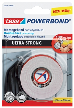 tesa montagetape powerbond ultra strong ft 1 5 m x 19 mm op blister lijmen officeknallers. Black Bedroom Furniture Sets. Home Design Ideas