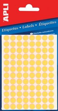 Apli ronde etiketten in etui diameter 8 mm fluo geel 288 for Apli etiketten